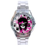 Scene Kid Girl Skull Stainless Steel Analogue Men's Watch