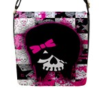 Scene Kid Girl Skull Flap Closure Messenger Bag (Large)