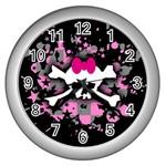 Scene Skull Splatter Wall Clock (Silver)