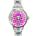 Skull Princess Round Italian Charm Watch