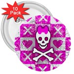 Skull Princess 3  Button (10 pack)