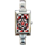 Star Checkerboard Splatter Rectangular Italian Charm Watch