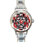 Star Checkerboard Splatter Round Italian Charm Watch