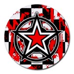 Star Checkerboard Splatter Round Mousepad