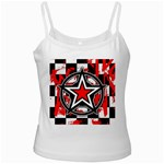 Star Checkerboard Splatter White Spaghetti Tank