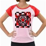 Star Checkerboard Splatter Women s Cap Sleeve T-Shirt