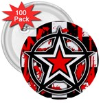 Star Checkerboard Splatter 3  Button (100 pack)