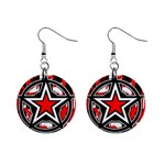 Star Checkerboard Splatter 1  Button Earrings