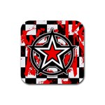 Star Checkerboard Splatter Rubber Coaster (Square)