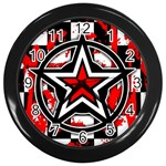 Star Checkerboard Splatter Wall Clock (Black)