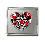Star Checkerboard Splatter Mega Link Heart Italian Charm (18mm)