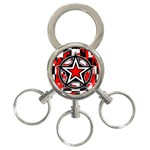 Star Checkerboard Splatter 3-Ring Key Chain