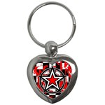 Star Checkerboard Splatter Key Chain (Heart)