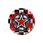 Star Checkerboard Splatter Rubber Round Coaster (4 pack)