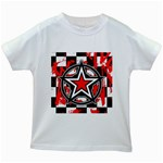 Star Checkerboard Splatter Kids White T-Shirt