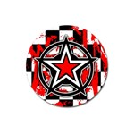 Star Checkerboard Splatter Magnet 3  (Round)