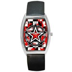 Star Checkerboard Splatter Barrel Style Metal Watch