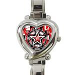 Star Checkerboard Splatter Heart Italian Charm Watch