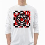 Star Checkerboard Splatter Long Sleeve T-Shirt
