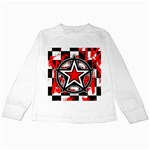 Star Checkerboard Splatter Kids Long Sleeve T-Shirt