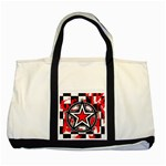 Star Checkerboard Splatter Two Tone Tote Bag