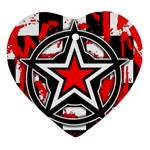 Star Checkerboard Splatter Heart Ornament (Two Sides)