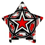 Star Checkerboard Splatter Star Ornament (Two Sides)