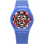 Star Checkerboard Splatter Round Plastic Sport Watch Small