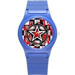 Star Checkerboard Splatter Round Plastic Sport Watch Small