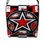 Star Checkerboard Splatter Flap Closure Messenger Bag (Large)