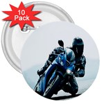Vehicles Motorcycle Racer 3  Button (10 pack)