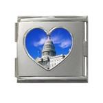 Usa White House Mega Link Heart Italian Charm (18mm)