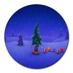 Walking Christmas Tree In Holiday Round Mousepad