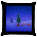 Walking Christmas Tree In Holiday Throw Pillow Case (Black)