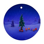 Walking Christmas Tree In Holiday Round Ornament (Two Sides)