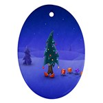 Walking Christmas Tree In Holiday Oval Ornament (Two Sides)