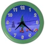 Walking Christmas Tree In Holiday Color Wall Clock