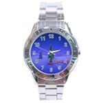 Walking Christmas Tree In Holiday Stainless Steel Analogue Men's Watch