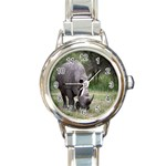 Wild Animal Rhino Round Italian Charm Watch