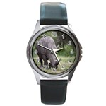 Wild Animal Rhino Round Metal Watch