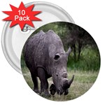 Wild Animal Rhino 3  Button (10 pack)