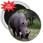 Wild Animal Rhino 3  Magnet (10 pack)