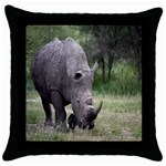 Wild Animal Rhino Throw Pillow Case (Black)