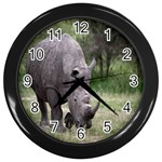Wild Animal Rhino Wall Clock (Black)