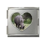 Wild Animal Rhino Mega Link Heart Italian Charm (18mm)