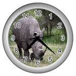 Wild Animal Rhino Wall Clock (Silver)