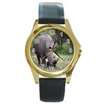 Wild Animal Rhino Round Gold Metal Watch