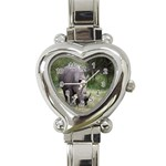 Wild Animal Rhino Heart Italian Charm Watch