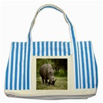 Wild Animal Rhino Striped Blue Tote Bag