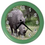 Wild Animal Rhino Color Wall Clock